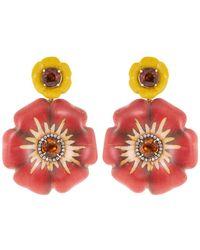 Silvia Furmanovich Sculptural Botanical Marquetry Flower Earrings - Multicolour