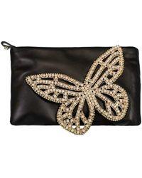 Sophia Webster Butterfly Flossy Crystal Clutch - Black & Pearl