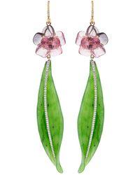 Irene Neuwirth Carved Tourmaline Flower And Nephrite Leaf Earrings - Green
