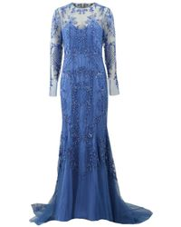 Monique Lhuillier - Embroidered Illusion Gown - Lyst