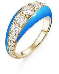 Melissa Kaye - Remi Blue Enamel And Diamond Ring - Lyst
