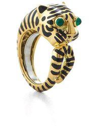 David Webb Tiger Emerald Black Enamel Ring - Metallic
