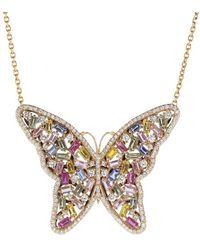 Suzanne Kalan Large Rainbow Sapphire Butterfly Necklace - Metallic