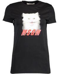 MSGM Cat Print T-shirt - Black