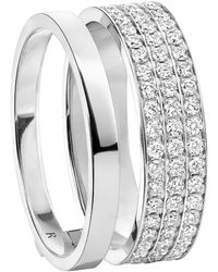 Repossi Berbere Module 2 Row Diamond Pave Ring - Metallic