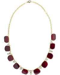 Sylva & Cie - Ruby Slice And Old Euro Cut Diamond Necklace - Lyst