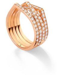 Repossi Antifer 4 Rose Gold Pave Diamond Ring - Pink