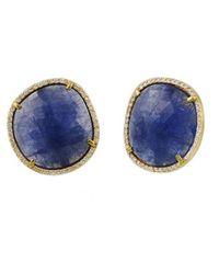 Gurhan Tanzanite Button Earrings - Blue