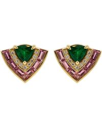 Emily P. Wheeler Pink Sapphire, Emerald, And Diamond Tiered Stud Earrings - Multicolour