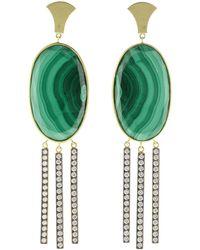 Sylva & Cie - Oval Malachite Earrings - Lyst