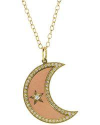 Andrea Fohrman Large Enamel Crescent Diamond Moon Phase Necklace - Metallic
