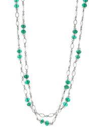 Fred Leighton Rose Cut Diamond And Emerald Bead Necklace - Multicolour