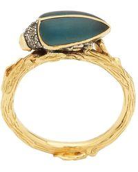 Bibi Van Der Velden Stackable Topaz And Diamond Scarab Ring - Metallic