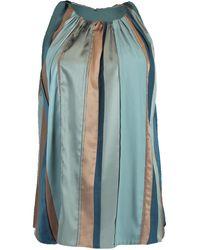 Brunello Cucinelli Stripe Intarsia Halter Top - Blue