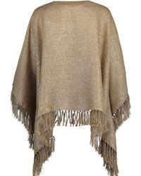 Brunello Cucinelli Camel Metallic Fine Knit Poncho - Multicolour