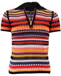 Adam Selman Crochet Knit Polo - Multicolour
