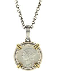 John Varvatos Silver And Brass Dime Pendant Necklace - Metallic