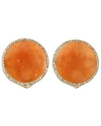 Bochic Orange Jade And Diamond Button Earrings