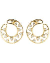 Dana Rebecca Diamond Front Hoop Earrings - Metallic