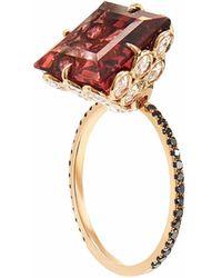 Lito Square Cut Tourmaline And Diamond Ring - Pink