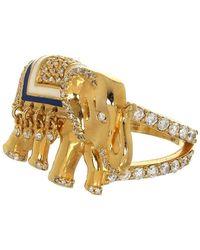 Buddha Mama Elephant Diamond Ring - Metallic