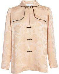 Markarian Pre-order - Tarsa Floral Jacquard Button-detailed Top - Natural