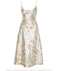 Markarian Silver Lamé Floral Corset Dress - Metallic