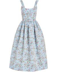 Markarian Apple Blue Ikat Floral Full Skirt Corset Dress