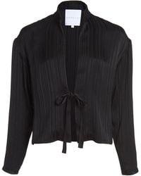 Markarian Pre-order - Spuria Black Striped Tie Front Top