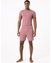Marks & Spencer Premium Cotton Supersoft Pajama Shorts - Pink