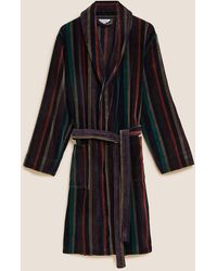 Marks & Spencer Autograph Pure Cotton Striped Dressing Gown - Black