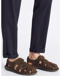 Marks & Spencer - Extra Wide Fit Leather Riptape Fisherman Sandals - Lyst