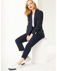 Marks & Spencer - Petite Slim Leg Trousers Navy - Lyst