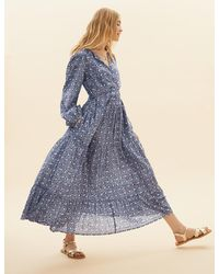Marks & Spencer Pure Cotton Printed Tiered Dress - Blue