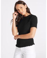Marks & Spencer - Textured Round Neck Short Sleeve Top - Lyst