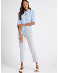 Marks & Spencer - Cotton Rich Tapered Fit Striped Chinos - Lyst