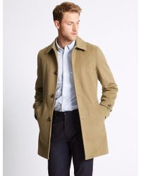 Marks & Spencer - Wool Blend Coat With Buttonsafetm - Lyst