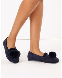 Marks & Spencer Pom-pom Moccasin Slippers - Blue
