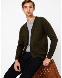 Marks & Spencer Cotton V-neck Cardigan Khaki - Green