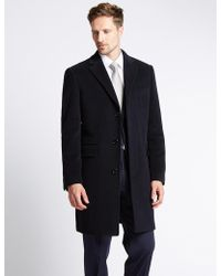 Marks & Spencer - Wool Rich Overcoat With Thinsulatetm - Lyst
