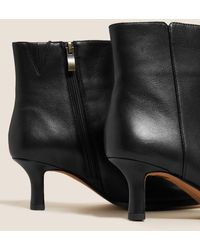 Marks & Spencer Autograph Leather Kitten Heel Square Toe Ankle Boot - Black