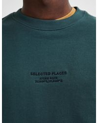 Marks & Spencer Selected Homme Organic Cotton Embroidered Sweatshirt - Green