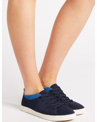 Marks & Spencer - Knitted Lace-up Trainers - Lyst