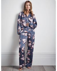 Marks & Spencer Satin Floral Print Pajama Set - Blue