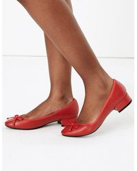Marks & Spencer Leather Round Toe Ballet Pumps - Red