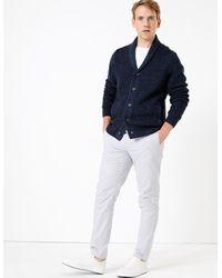 Marks & Spencer Textured Shawl Neck Cardigan Navy - Blue