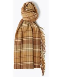 Marks & Spencer Checked Tassel Scarf - Brown