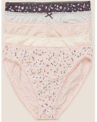 Marks & Spencer 5pk Cotton Lycra® Daisy Print High Leg Panties - Pink