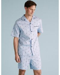 Marks & Spencer Pure Cotton Toucan Print Pajama Set - Blue