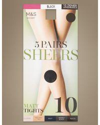 Marks & Spencer - 5 Pair Pack 10 Denier Matt Tights - Lyst
